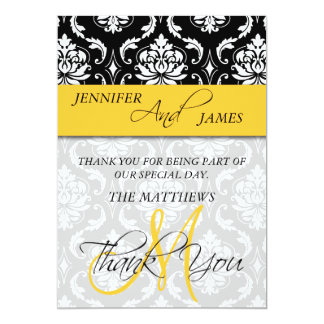Thank You Cards Damask Monogram Name Yellow 13 Cm X 18 Cm Invitation Card
