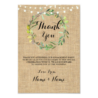 Thank You Cards Fall Wreath Burlap Rustic Wedding