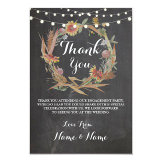 Thank You Cards Fall Wreath Chalk Rustic Winter
