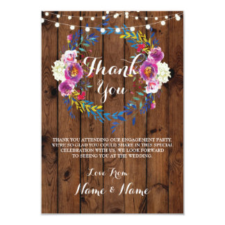 Thank You Cards Fall Wreath wood Rustic Wedding
