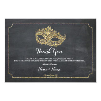 Thank You Cards Masquerade Mask Party Glitter
