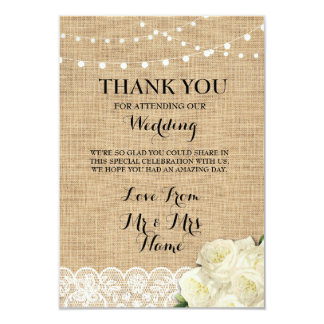 Thank You Cards Wood Lights Rustic Burlap Lace