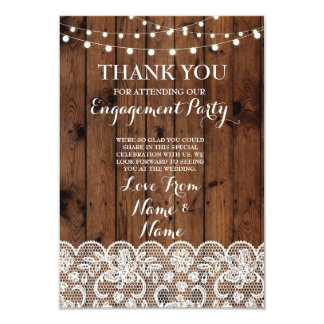 Thank You Cards Wood Lights Rustic Winter Lace 9 Cm X 13 Cm Invitation Card