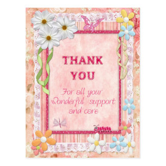 Thank you carer, flowers craft card postcard