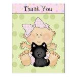 Thank You cartoon baby postcard