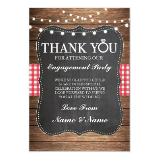 Thank You Chalk Wood Rustic Red Check Card 9 Cm X 13 Cm Invitation Card
