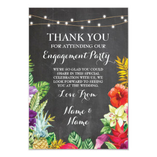 Thank You Chalkboard Rustic Aloha Tiki Card 9 Cm X 13 Cm Invitation Card