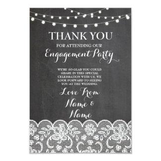 Thank You Chalkboard Rustic Winter Chalkboard Lace 9 Cm X 13 Cm Invitation Card