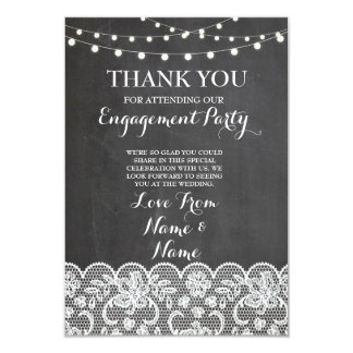 Thank You Chalkboard Rustic Winter Chalkboard Lace Card