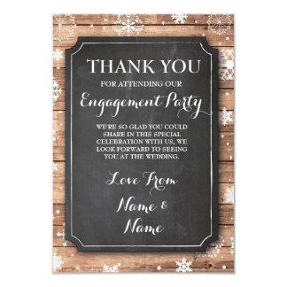 Thank You Chalkboard Rustic Winter Snowflakes 9 Cm X 13 Cm Invitation Card