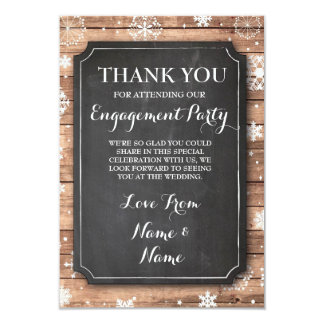 Thank You Chalkboard Rustic Winter Snowflakes Card