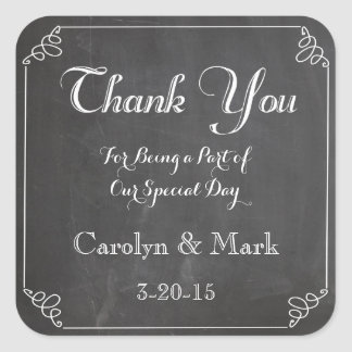 Thank You, Chalkboard Vintage Wedding Favor Labels
