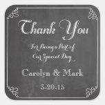Thank You, Chalkboard Vintage Wedding Favour Square Sticker
