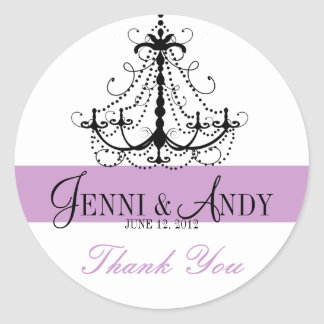 Thank You Chandelier Names Wedding Favour Sickers Round Sticker