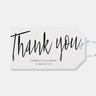 """Thank you"" Chic Calligraphy Wedding Favor Tag"