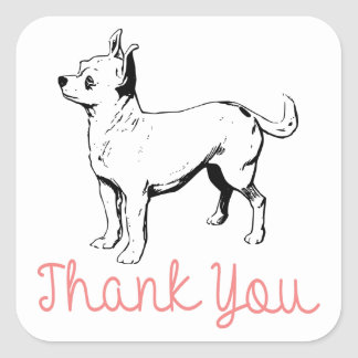 Thank You Chihuahua Puppy Dog Stickers / Seals