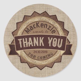 Thank You Chocolate Brown Grunge Badge Burlap Logo Round Sticker