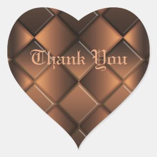 Thank You. Chocolate Heart. Heart Sticker