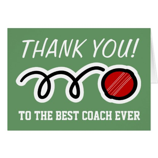 Thank you coach   cricket greeting cards