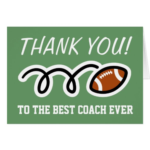 Thank you coach   football greeting cards