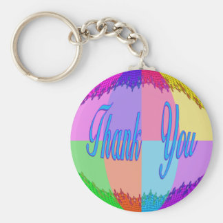 Thank You colorful Basic Round Button Key Ring