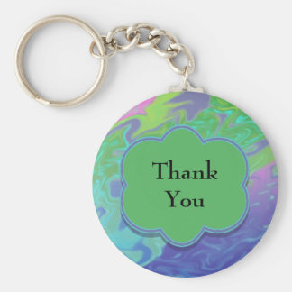 Thank You Colorful Blue Green Abstract Basic Round Button Key Ring