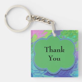Thank You Colorful Blue Green Abstract Double-Sided Square Acrylic Keychain