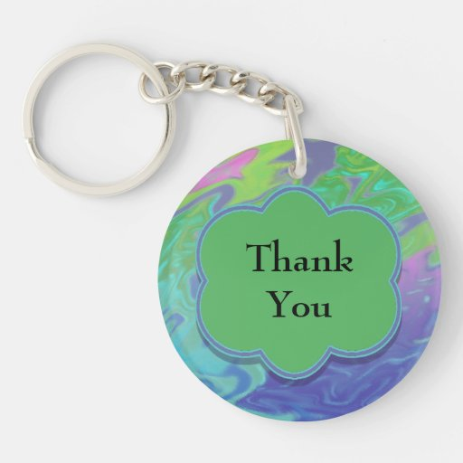 Thank You Colorful Blue Green Abstract Key Chain