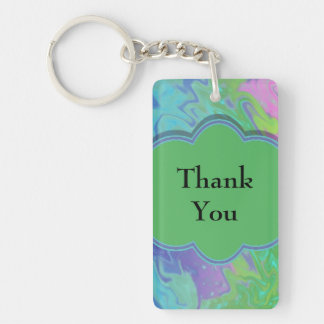 Thank You Colorful Blue Green Abstract Double-Sided Rectangular Acrylic Keychain
