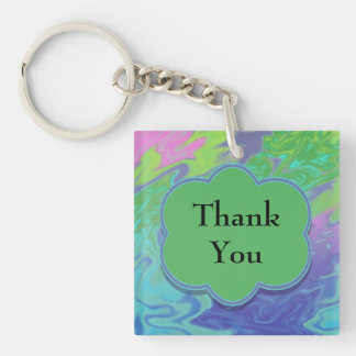 Thank You Colorful Blue Green Abstract Acrylic Keychain