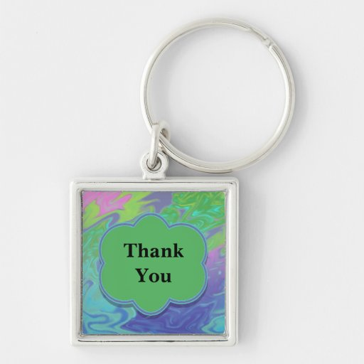 Thank You Colorful Blue Green Abstract Keychain