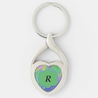 Thank You Colorful Blue Green Abstract Silver-Colored Heart-Shaped Metal Keychain