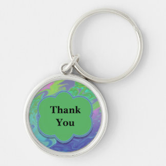 Thank You Colorful Blue Green Abstract Silver-Colored Round Key Ring