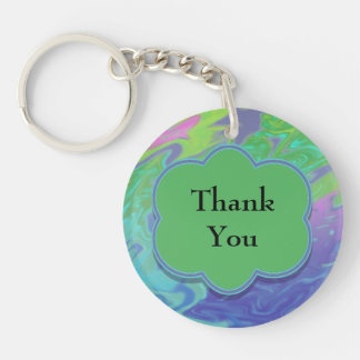 Thank You Colorful Blue Green Abstract Single-Sided Round Acrylic Key Ring