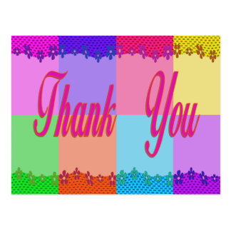 Thank You colorful flowers Postcard