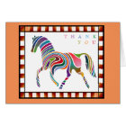 Thank You Colourful Horse Pony with Border Orange Card