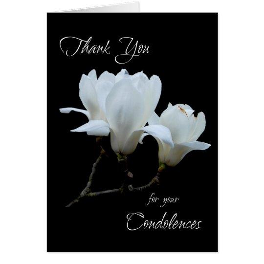 Thank you condolences white magnolias card