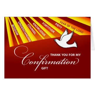 Thank You Confirmation Gift Gold & Red Rays Greeting Card