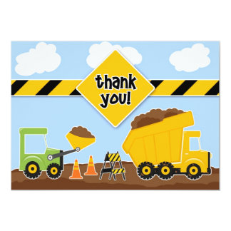 Thank You Construction Flat Card 13 Cm X 18 Cm Invitation Card