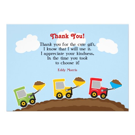 Thank You Construction Flat Card Announcement