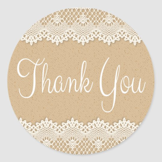 Thank You Country Lace Brown And White Rustic Classic Round Sticker