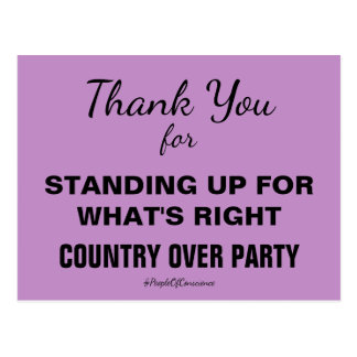 Thank You Country Over Party Resistance Postcard