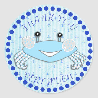 Thank You Crab Nautical Baby Shower Stickers