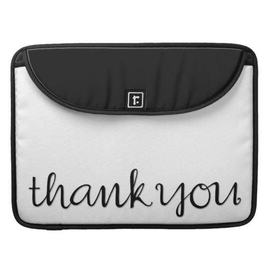 Thank You Cursive black MacBook Pro Sleeve