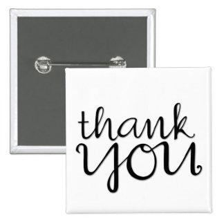 Thank You Cursive black Magnet 15 Cm Square Badge