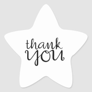 Thank You Cursive black Star Sticker