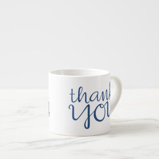 Thank You Cursive blue Espresso Mug