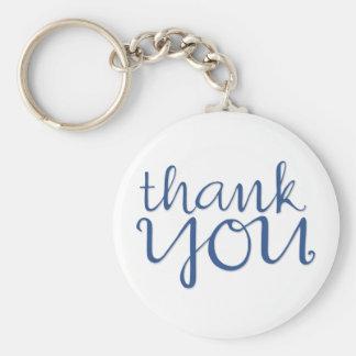 Thank You Cursive blue Keychain