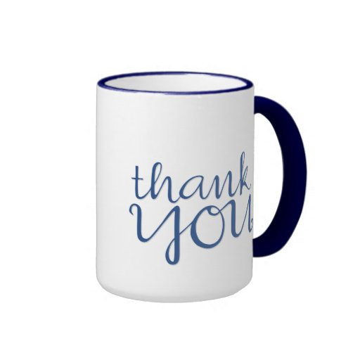 Thank You Cursive blue Mug