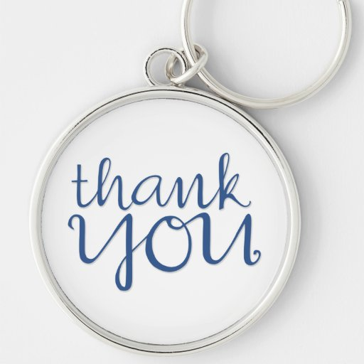 Thank You Cursive blue Premium Keychain